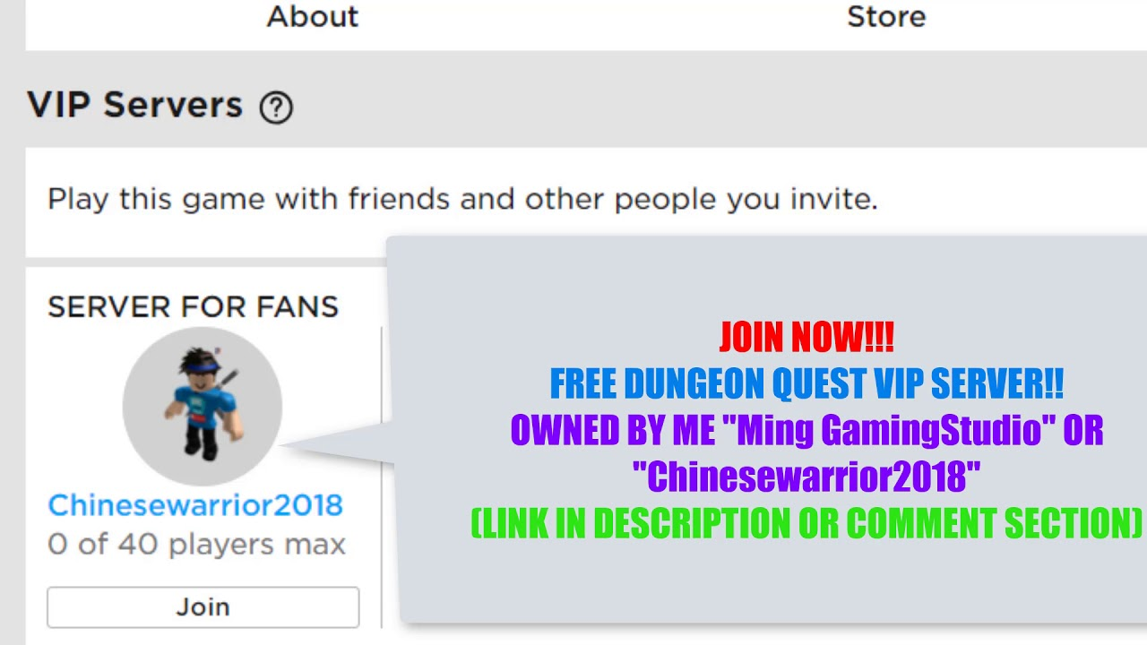 FREE DUNGEON QUEST VIP SERVER | ROBLOX DUNGEON QUEST VIP SERVER