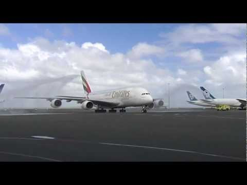 Emirates Airbus A380 Water Cannon Salute | Auckland | Emirates Airline