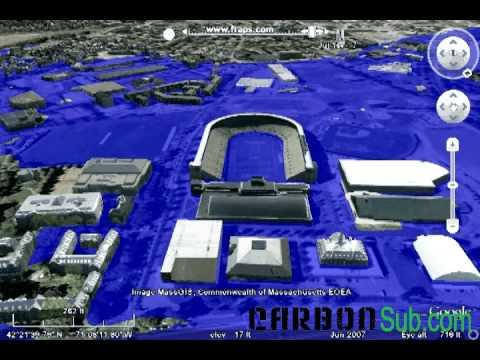 Harvard Stadium, Massachussets - 7 Meter Sea Level Scenario