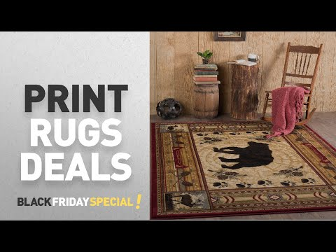 Black Friday Print Rugs Deals: Universal Rugs Black Bear Novelty Lodge Pattern Brown Rectangle Area