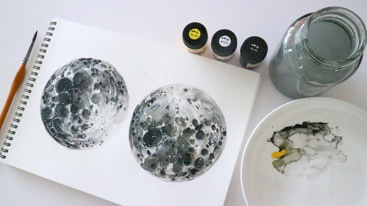 ART#08| Vẽ mặt trăng đơn giản bằng màu nước Thiên Long |How to Paint a Moon With Watercolors