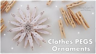 DIY Clothepins Stunning Christmas Star Snowflake Ornament ♡ Maremi