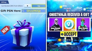 How to GIFT any ITEMS + V-Bucks in Fortnite Battle Royale! (SEASON 5)