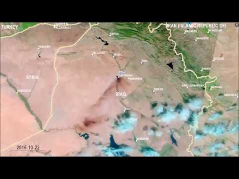 Animation of Mosul Oil Fires - By UNOSAT