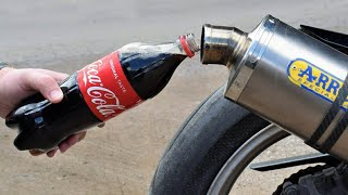 EXPERIMENT COCA COLA In MOTORCYCLE EXHAUST