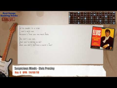 Suspicious Minds - Elvis Presley Guitar Backing Track with chords and lyrics