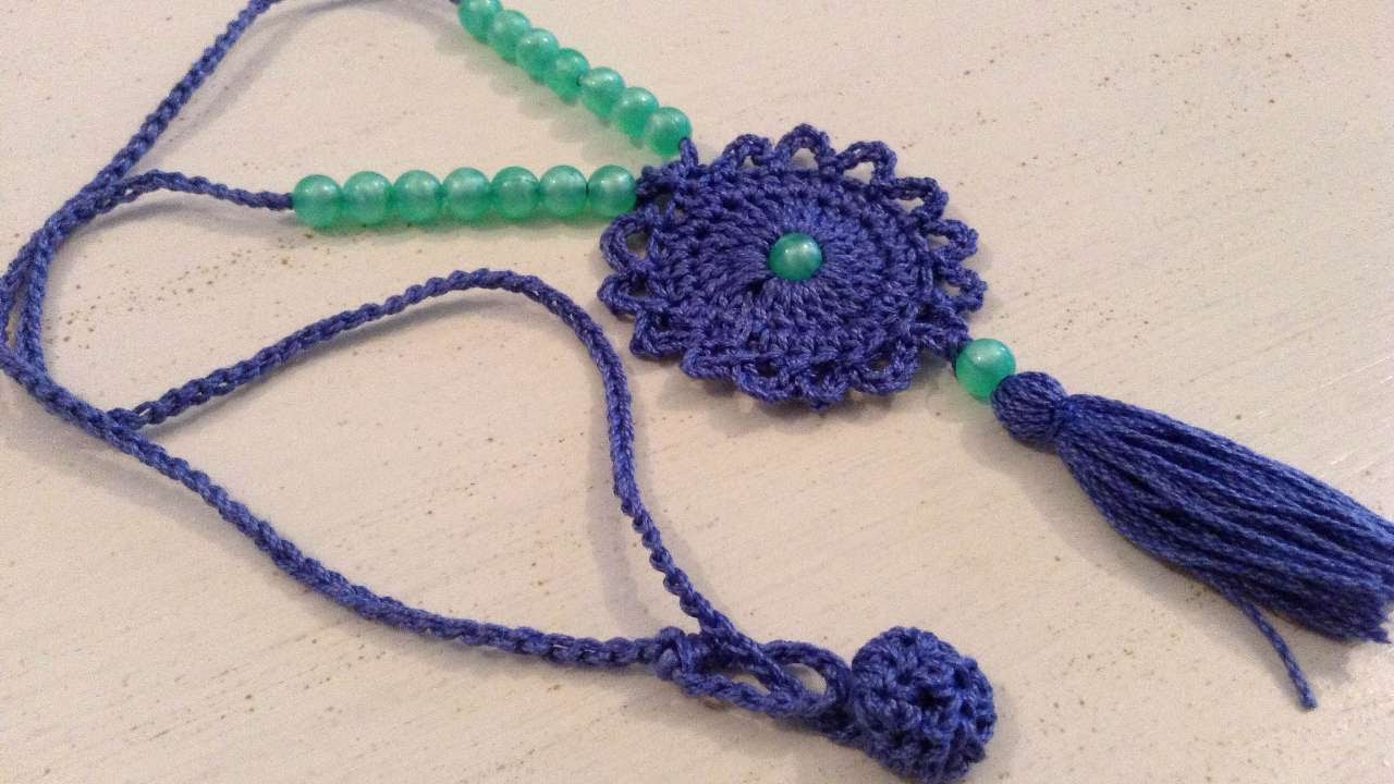 Crochet a similar pattern is available free …   crochet necklace.