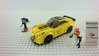 75870 LEGO® Speed Champions Chevrolet Corvette Z06  Speed Build Review 4K by Brickmanuals
