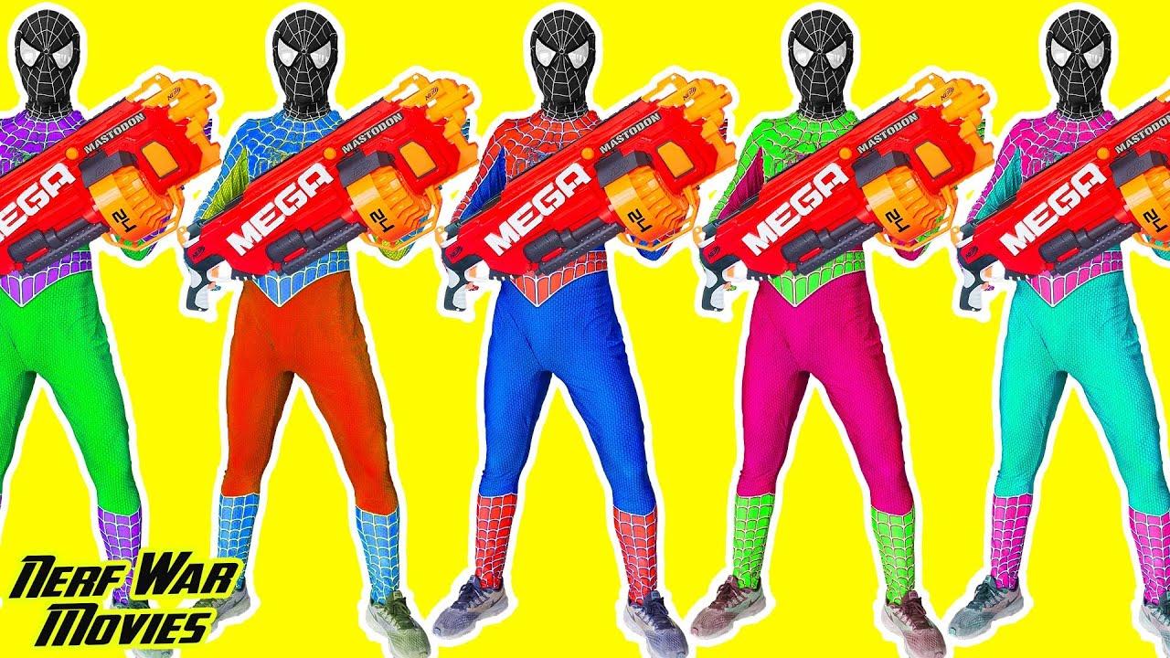 Nerf War Movies: Superhero X Warriors Nerf Guns Fight Criminal Group Spiderman mind control