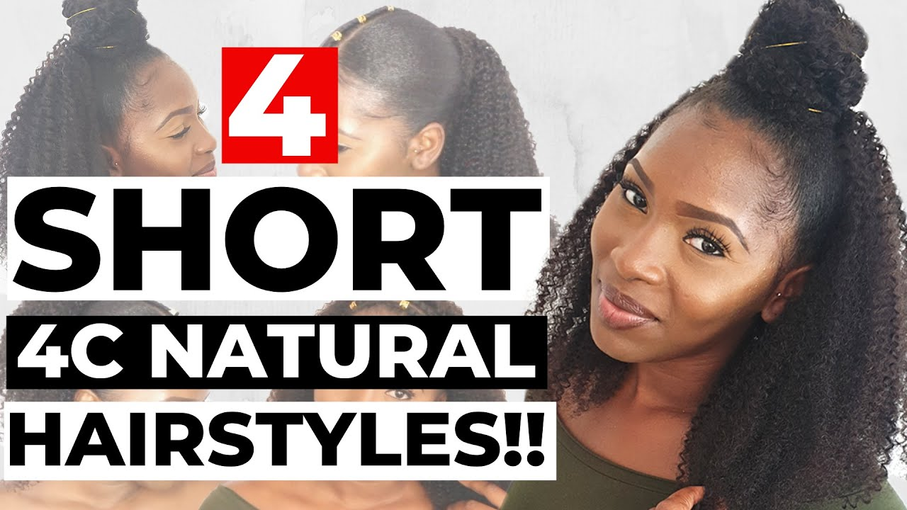 4 EASY NATURAL HAIRSTYLES FOR SHORT 4C HAIR USING CLIP INS ...