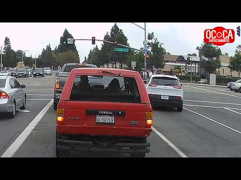 TWO Red Light Runners Make Illegal Right Turn - OC, California