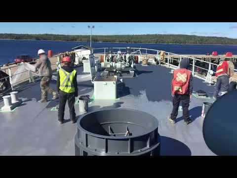 Time lapse video of the coating process for Intershield 9G on deck.
