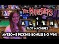 Happy Halloween! BIG WIN! Perfect Picking on Alien Slot Machine + The Munsters Slot Machine BONUS!