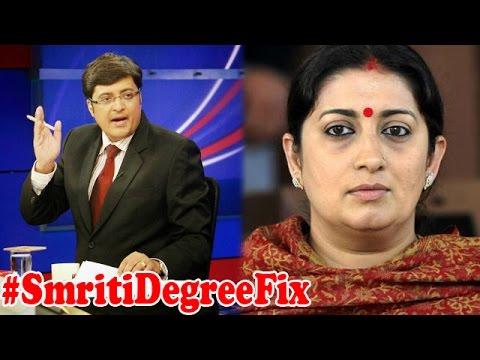 #SmritiDegreeFix: Smriti Irani in a fix : The Newshour Debate (24th June 2015)