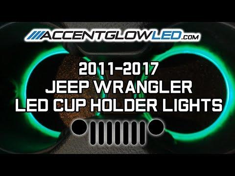 Jeep Wrangler JK LED Cup Holder Lights Install 2011-2017 AccentGlowLED
