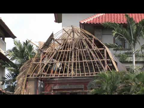Bali.How to build a straw roof.