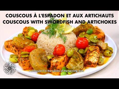 choumicha-:-recette-de-couscous-à-l'espadon-et-aux-artichauts-|-couscous-with-swordfish-&-artichokes