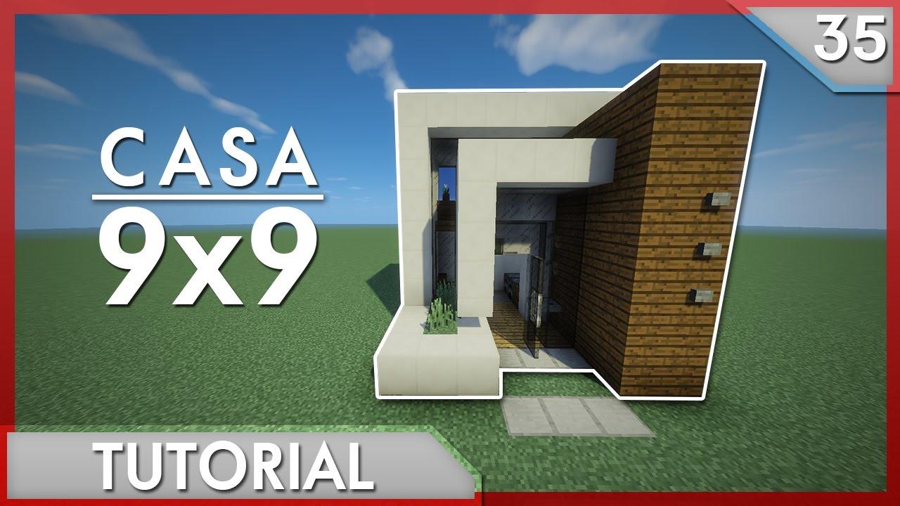 minecraft como hacer una casa moderna 9x9 tutorial