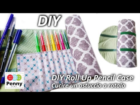 Drawstring Roll Up Pencil Case   Tutorial Cucire Astuccio A Rotolo   How To Sew Roll Up Pencil Case