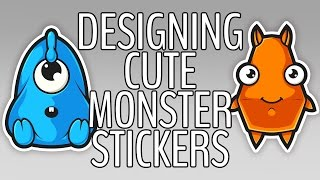 Creating Cute Monster Stickers! (Speedart/Tutorial)