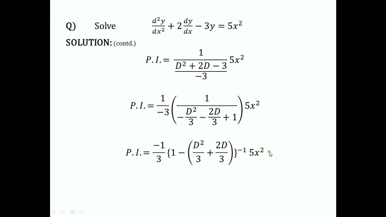 particular integral of differential equation pdf