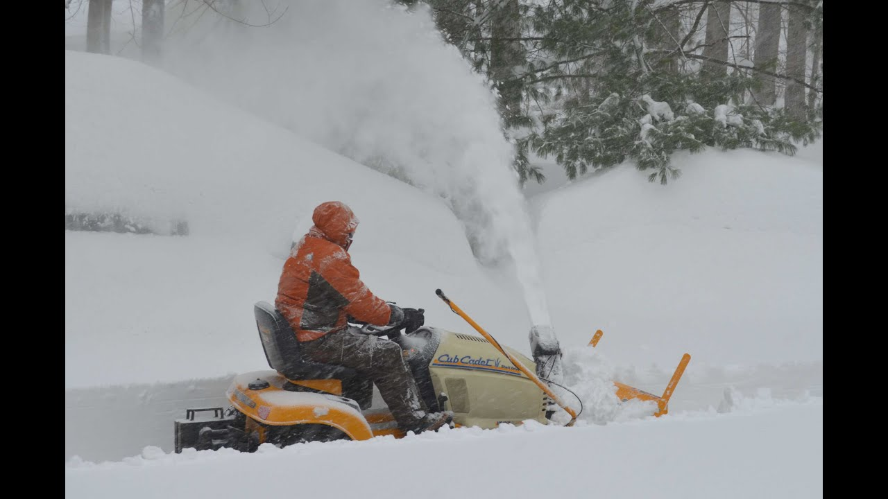 Cub Cadet Tractor Mounted Snow Thrower During Snowzilla