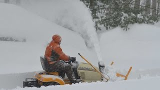 cub cadet tractor mounted snow thrower during snowzilla 2016