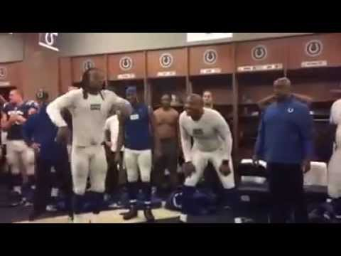 """Lemme get two claps and a Ric Flair"" Indianapolis Colts post game locker room celebration"
