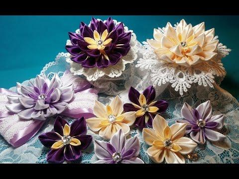 мастер-класс: цветы канзаши из узкой ленты своими руками