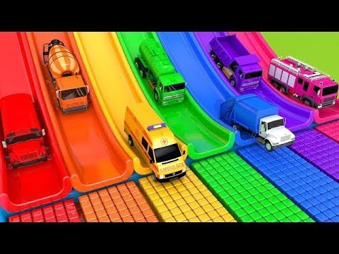 Learn Colors with 5 Street Vehicles and Assembly Fruit Wheels Flying Cars Pretend Play Toys for kids