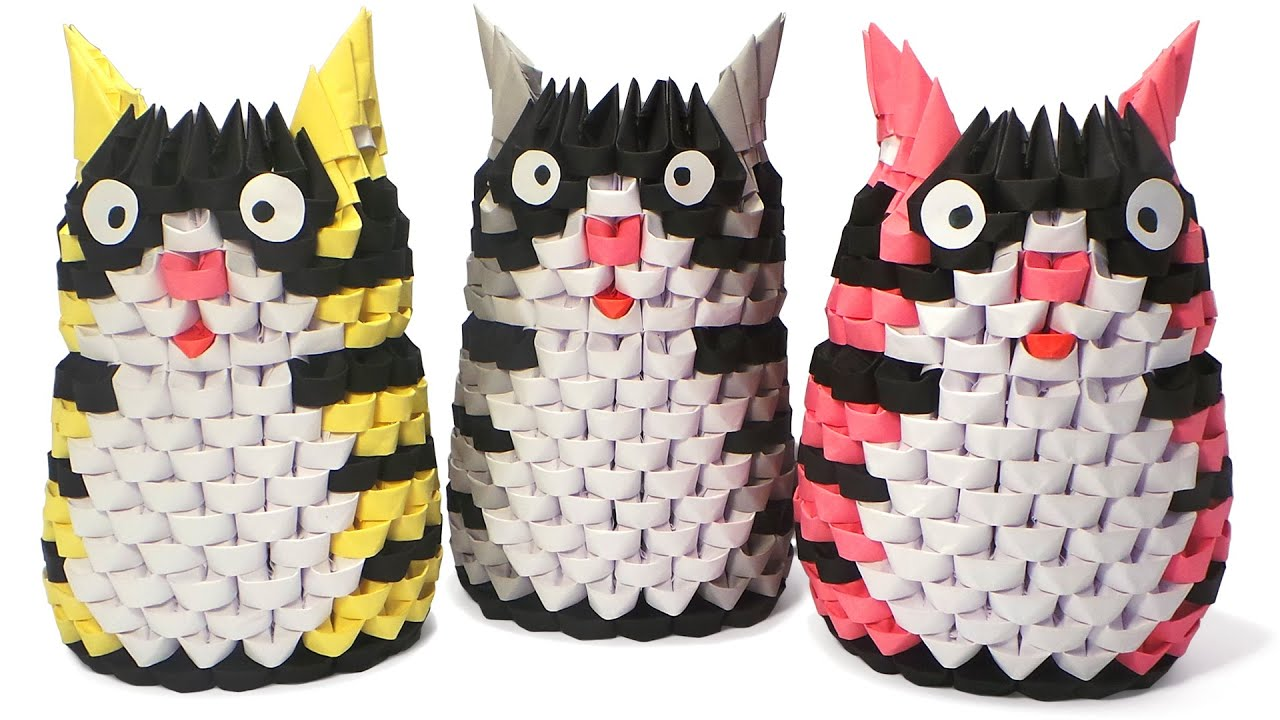3D Origami Striped Cats Tutorial