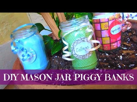 Diy mason jar piggy bank darlingdiy 39 s youtube for Mason jar piggy bank