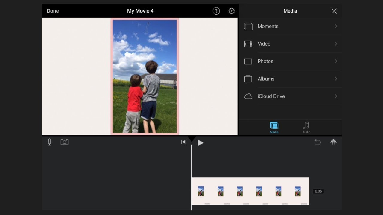How to put a portrait picture in imovie on an iPhone or iPad