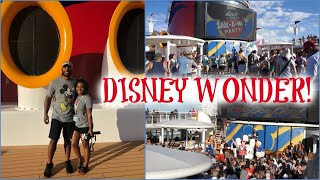 BOARDING THE DISNEY WONDER!   Cruise Vlog Day 1
