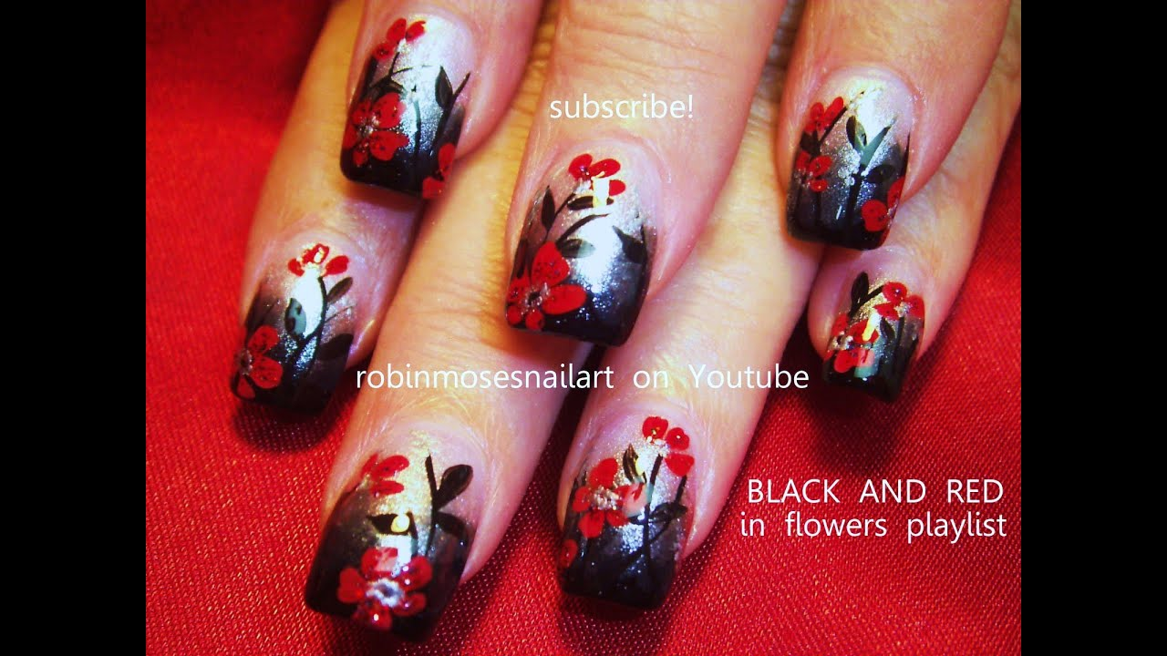Nail Art! Black Gradient with Red Flower Nails! Gothic Nail Design