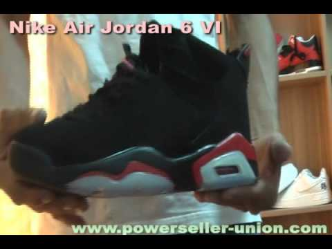watch 513f7 31e3a Nike Air Jordan 6 VI Retro Black Deep Infrared Mens Shoes.avi