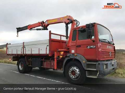 Camion porteur Renault Manager Benne + grue G230ti.19 Chateauroux Poids Lourds S.A.