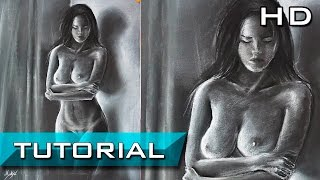 Cómo Dibujar la Figura Humana de una Mujer a Lápiz Pastel Paso a Paso - Dibujo de Figura Humana