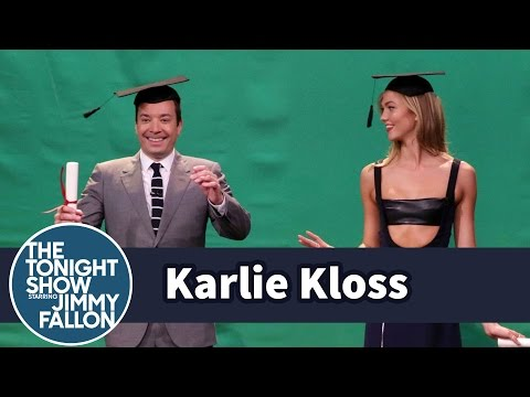 Karlie Kloss Teaches Jimmy to Pose in Midair - YouTube