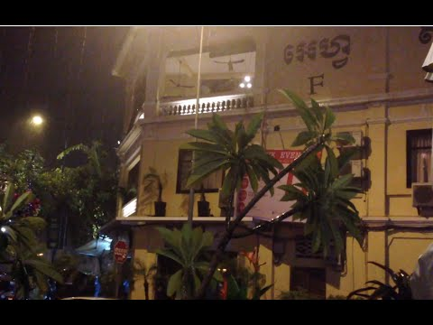 First day raining over Phnom Penh in Cambodia in April at FCC restaurant