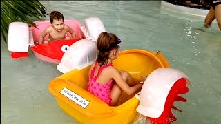 Water playground fun for kids with little boats. Video from KIDS TOYS CHANNEL