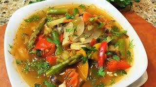 ОВОЩНОЙ СУП, наивкуснейший, витаминный .  Для худеющих, Пост или диета.  (Vegetable soup, diet.)