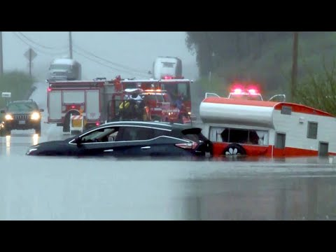 Couple Stranded on Flooded Sonoma County Road Rescued by Jet Ski