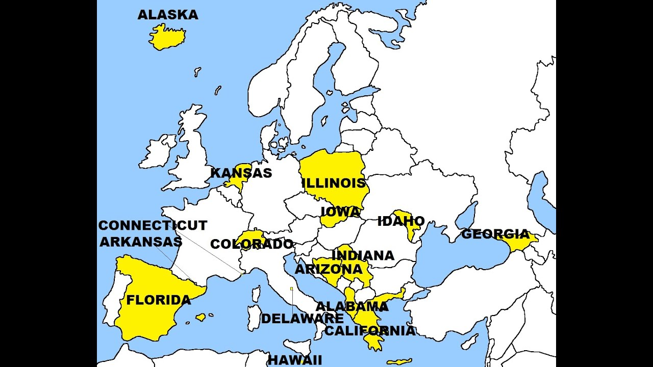 Europe And United States Replaced States YouTube - Us vs europe map