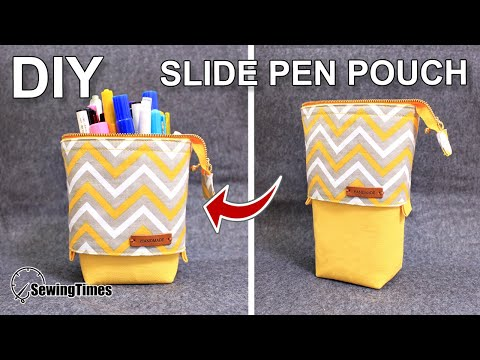 DIY SLIDE PEN POUCH 필통만들기 | Stand pencil case sewing tutorial | fun&easy zipper pouch [sewingtimes]