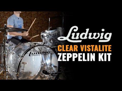 Ludwig Clear Vistalite 4pc Zeppelin Kit 14/16/18/26   CDE Gear Demo