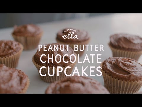 Peanut Butter & Chocolate Cupcakes | Vegan | Deliciously Ella