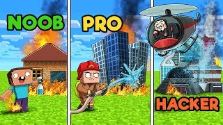 Minecraft - FIREFIGHTER RESCUE! (NOOB vs PRO vs HACKER)