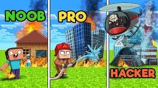 Minecraft - FIREFIGHTER RESCUE! (NOOB vs PRO vs HACKER)