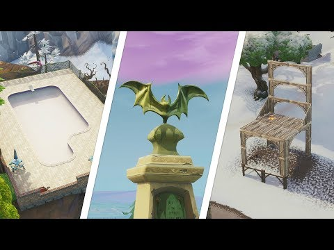 Dance In Front Of A Bat Statue, In A Way Above Ground Pool, Seat For Giants Location - Fortnite